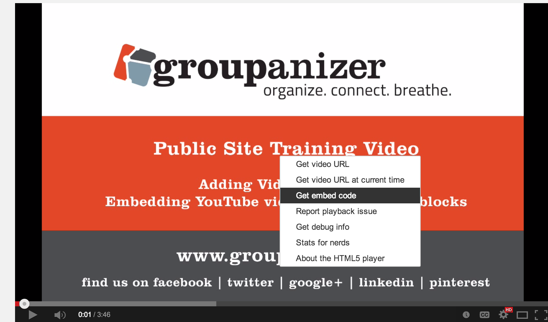 Embedding a Youtube Video | Archives of old support articles for