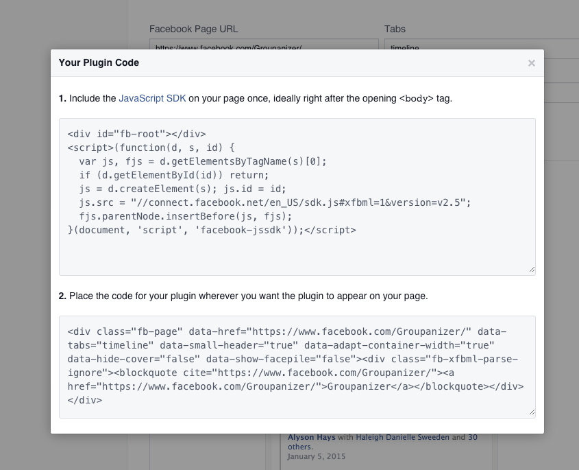 Facebook Page Plugin Code popup