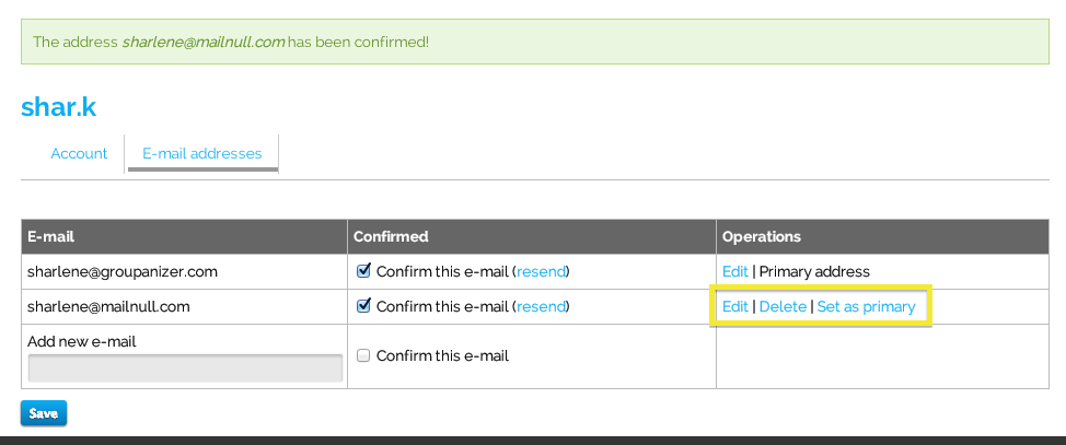 How to: Allow multiple email addresses for one user account